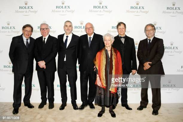 Philip Glass David Chipperfield Alfonso Cuaron Bertrand Gros Joan Jonas Robert Lepage and Mia Couto during the Rolex Arts Initiative Ceremony at...