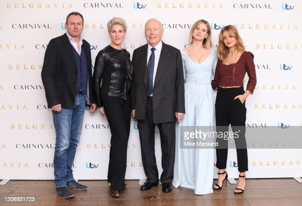 Philip Gleniste Tamsin Greig Julian Fellowes Alice Eve and Ella Purnell attend the Belgravia photocall at Soho Hotel on February 17 2020 in London...