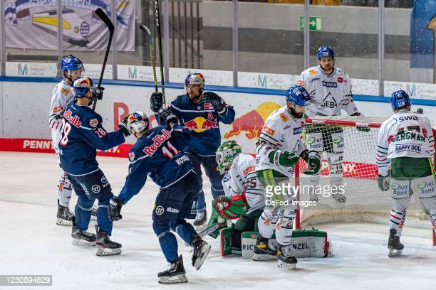 Philip Gogulla of EHC Red Bull Muenchen celebrates after scoring his team's 1:1 goal during the DEL match between EHC Red Bull Muenchen and...