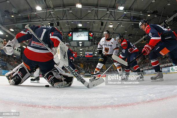 Philip Gogulla of Germany skates with Marek Ciliak, goalie of Slovakia during match 3 of the Deutschland Cup 2014 between Germany and Slovakia at...