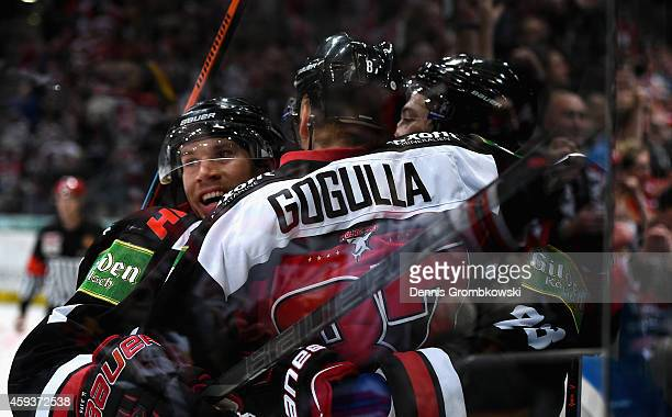 Philip Gogulla of Koelner Haie celebrates the first goal during the DEL Ice Hockey match between Koelner Haie and Hamburg Freezers at Lanxess Arena...