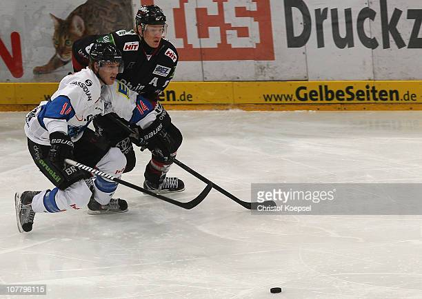 Philip Gogulla of Koelner Haie challenges Tim Hambly of Ingolstadt during the DEL match between Koelner Haie and ERC Ingolstadt at Lanxess Arena on...