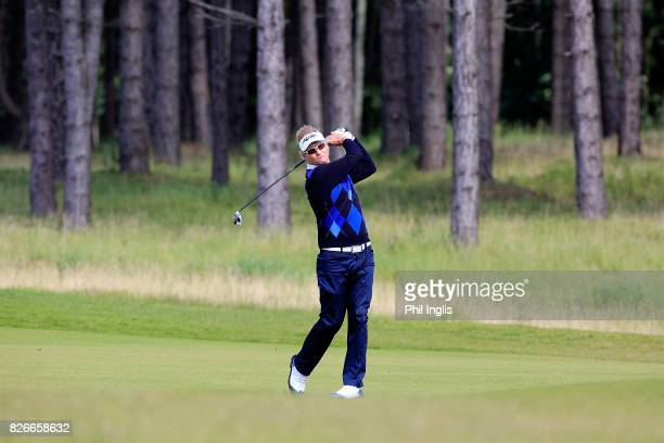 Philip Golding of England in action during the second round of the Scottish Senior Open at The Renaissance Club on August 5 2017 in North Berwick...