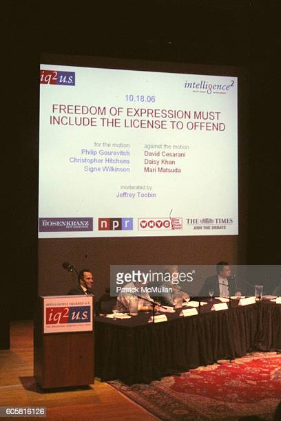 Philip Gourevitch Christopher Hitchens Signe Wilkinson and Jeffrey Toobin attend INTELLIGENCE SQUARED presents 'Freedom of Expression Must Include...