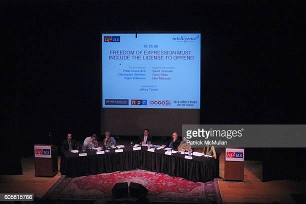 Philip Gourevitch Christopher Hitchens Signe Wilkinson Jeffrey Toobin David Cesarani Daisy Khan and Mari Matsuda attend INTELLIGENCE SQUARED presents...