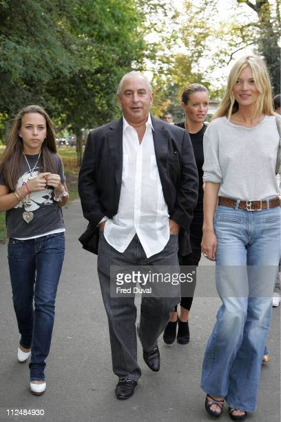 Philip Green and Kate Moss during London Fashion Week Spring/Summer 2007 - TopShop: Unique Spring/Summer 2007 Drinks Reception - Outside Arrivals at...