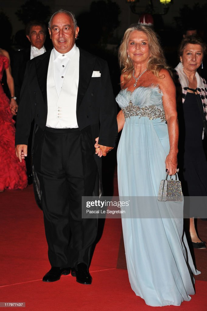 Philip Green and Tina Green attend a dinner at Opera terraces after the religious wedding ceremony of Prince Albert II of Monaco and Princess Charlene of Monaco on July 2, 2011 in Monaco. The Roman-Catholic ceremony followed the civil wedding which was held in the Throne Room of the Prince's Palace of Monaco on July 1. With her marriage to the head of state of the Principality of Monaco, Charlene Wittstock has become Princess consort of Monaco and gains the title, Princess Charlene of Monaco. Celebrations including concerts and firework displays are being held across several days, attended by a guest list of global celebrities and heads of state.