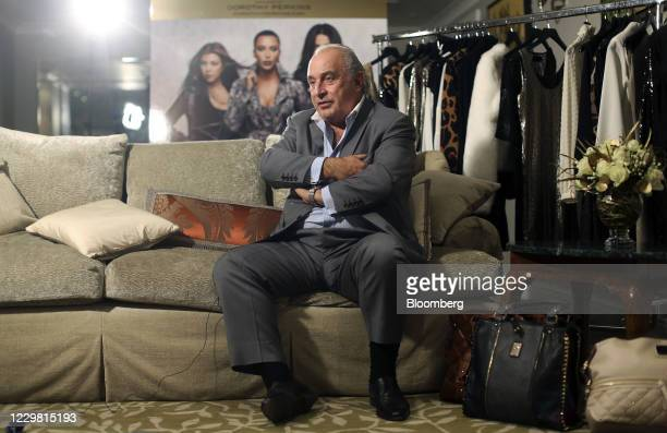 Philip Green, the billionaire owner of fashion retailer Arcadia Group Ltd., speaks during a Bloomberg Television interview in London, U.K., on...