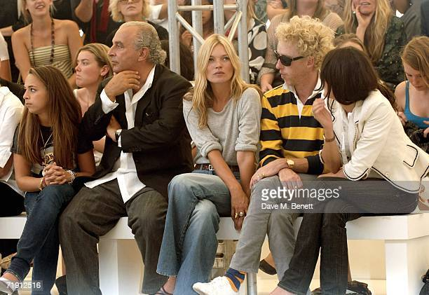 Philip Green with his daugter , model Kate Moss and Annabel Nielson attend the Topshop fashion show with reception drinks and catwalk show to unveil...