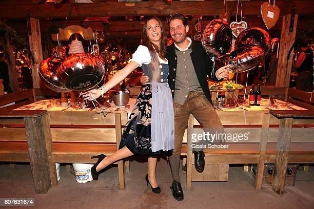 Philip Greffenius and his wife Evelyn Greffenius during the 'Almauftrieb' as part of the Oktoberfest 2016 at Kaeferschaenke beer tent on September 18...