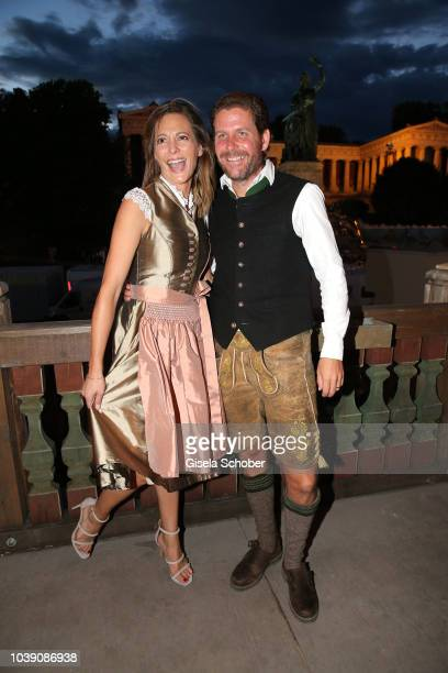 Philip Greffenius and his wife Evelyne Greffenius during the 'Almauftrieb' as part of the Oktoberfest 2018 at Kaefer Tent at Theresienwiese on...