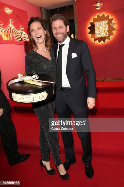 Philip Greffenius and his wife Evelyne Greffenius with present during Michael Kaefer's 60th birthday celebration at Postpalast on February 2 2018 in...