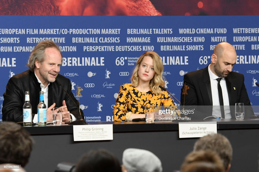 Philip Groening, Julia Zange and Urs Jucker are seen at the 'My Brother's Name is Robert and He is an Idiot' (Mein Bruder heisst Robert und ist ein Idiot) press conference during the 68th Berlinale International Film Festival Berlin at Grand Hyatt Hotel on February 21, 2018 in Berlin, Germany.