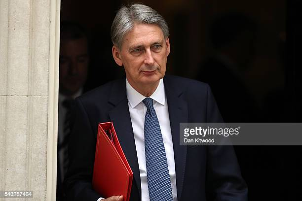 Philip Hammond Secretary of State for Foreign and Commonwealth Affairs leaves Downing Street following a cabinet meeting on June 27 2016 in London...