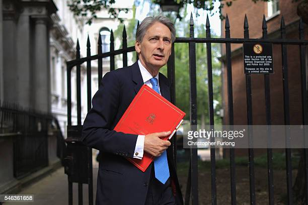 Philip Hammond Secretary of State for Foreign and Commonwealth Affairs arrives for a cabinet meeting at Downing Street on July 12 2016 in London...