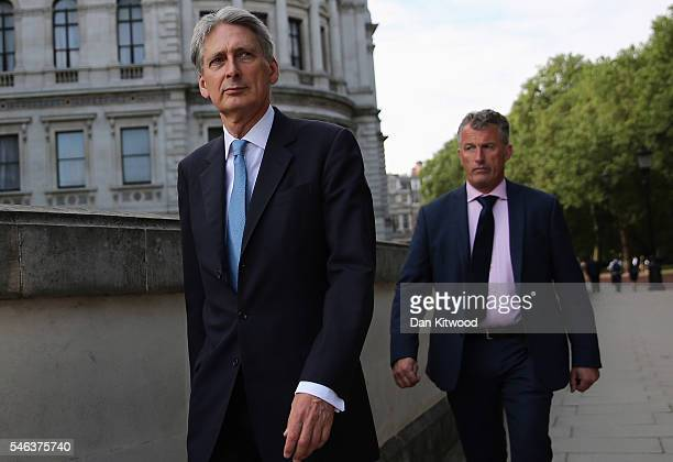 Philip Hammond Secretary of State for Foreign and Commonwealth Affairs arrives for a cabinet meeting at the back of Downing Street on July 12 2016 in...