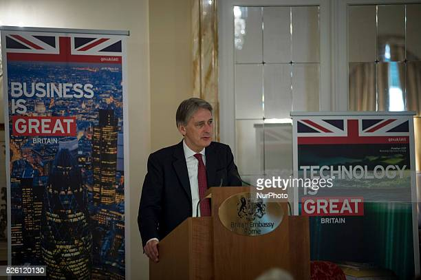Philip Hammond, Secretary of State for Foreign and Commonwealth Affairs gives a speech during an event on EU reform, Italy and the renegotiation of...