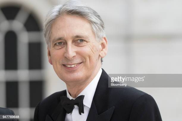Philip Hammond UK chancellor of exchequer arrives for the City of London Corporation's Commonwealth Business Forum Banquet at the Guildhall in London...