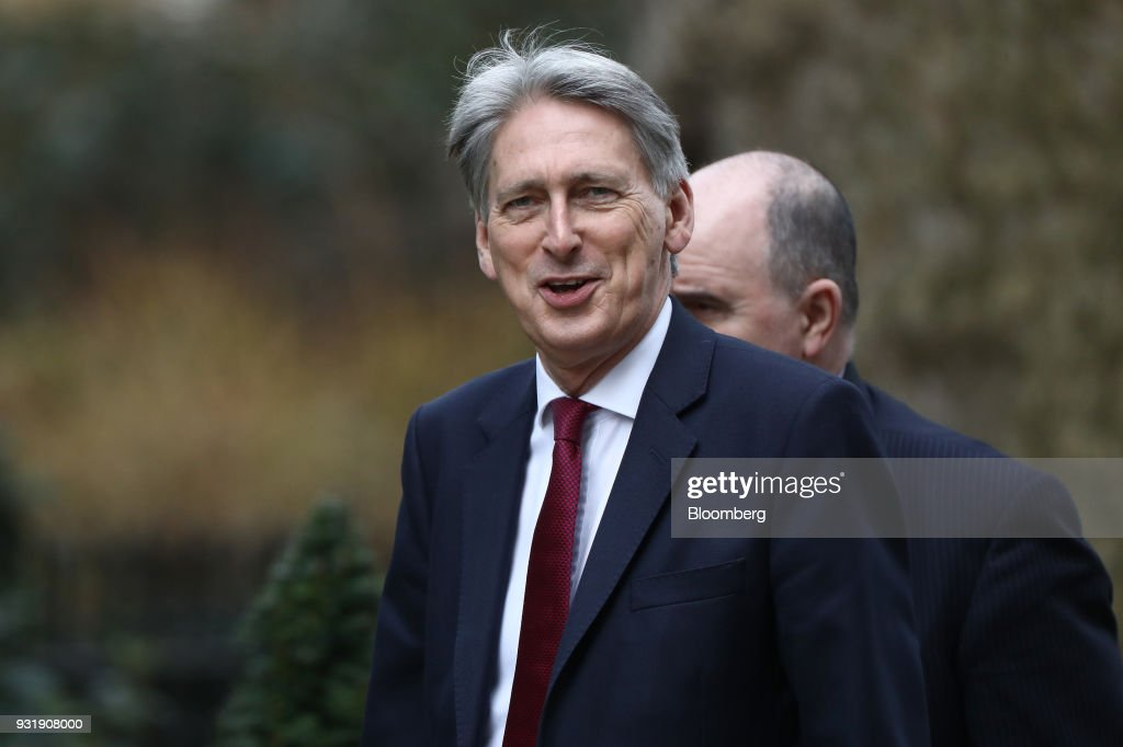 Philip Hammond, U.K. chancellor of the exchequer, arrives at Downing Street in London, U.K., on Wednesday, March 14, 2018. U.K. prime minister Theresa May will set out how she aims to retaliate against Russia over the nerve agent attack on a former spy and his daughter, deepening tensions between Vladimir Putin and the West. Photographer: Simon Dawson/Bloomberg via Getty Images