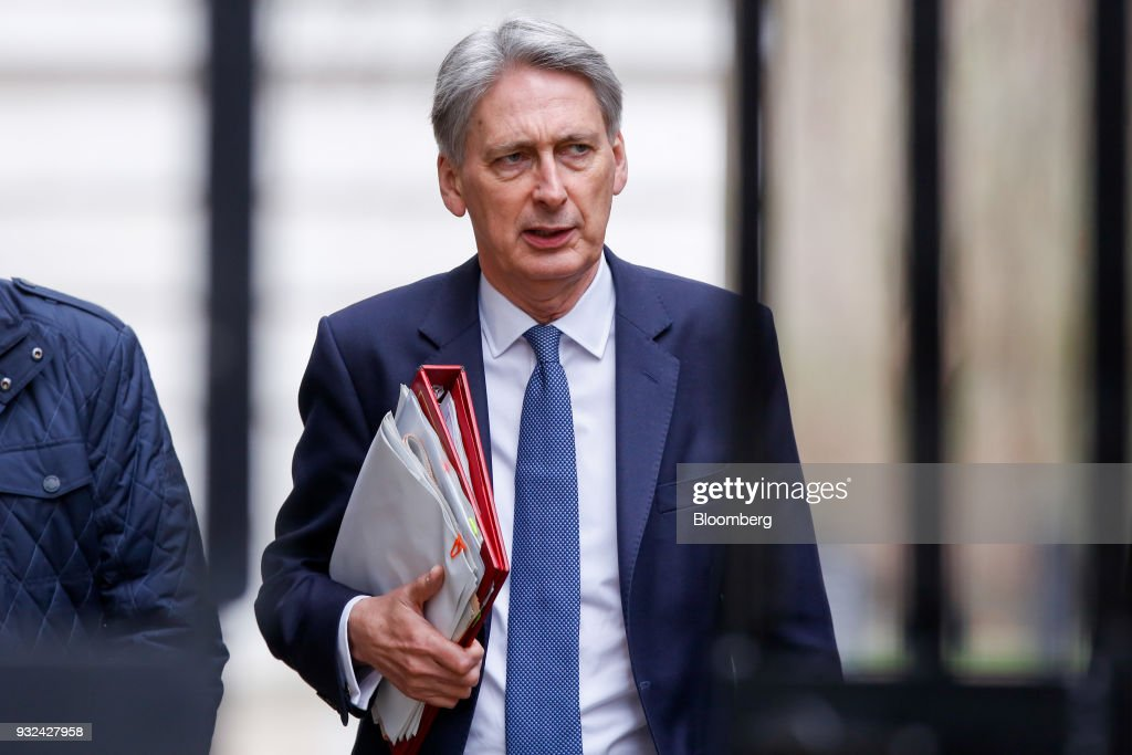 Philip Hammond, U.K. chancellor of the exchequer, arrives for a meeting of the Business Advisory Council at Downing Street in London, U.K., on Thursday, March 15, 2018. U.K. Prime Minister Theresa May is due to meet business leaders on Thursday to discuss Britain's departure from the European Union. Photographer: Luke MacGregor/Bloomberg via Getty Images