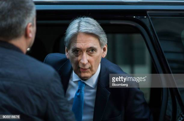 Philip Hammond UK chancellor of the exchequer arrives for a weekly meeting of cabinet ministers at number 10 Downing Street in London UK on Tuesday...