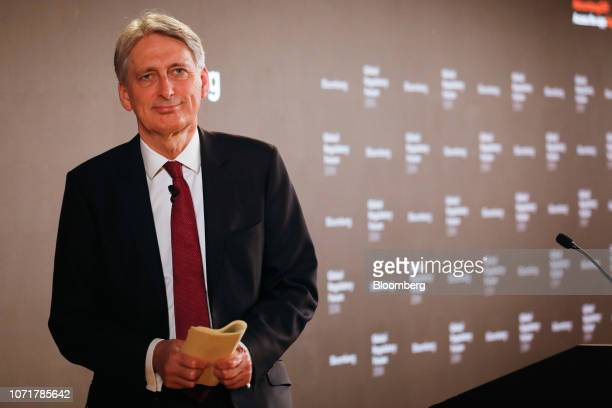 Philip Hammond UK chancellor of the exchequer leaves after delivering a speech during the Global Regulatory Forum at Bloomberg's European...