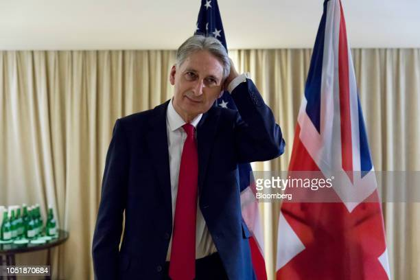 Philip Hammond UK chancellor of the exchequer waits ahead of a bilateral meeting with US Treasury Secretary Steven Mnuchin on the sidelines of the...