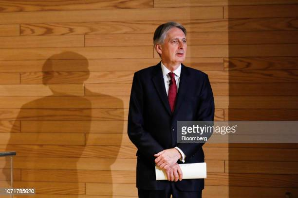 Philip Hammond UK chancellor of the exchequer waits on the side of the stage ahead of delivering a speech during the Global Regulatory Forum at...