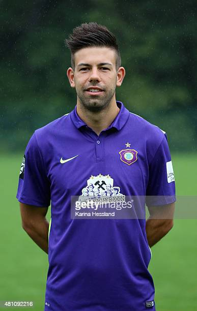 Philip Hauck poses during the official team presentation of Erzgebirge Aue at ground 2 on July 14 2015 in Aue Germany