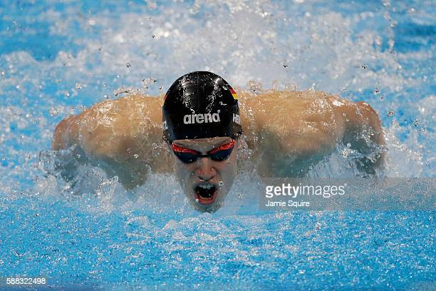 Philip Heintz of Germany competes in the first Semifinal of the Men's 200m Individual Medley on Day 5 of the Rio 2016 Olympic Games at the Olympic...