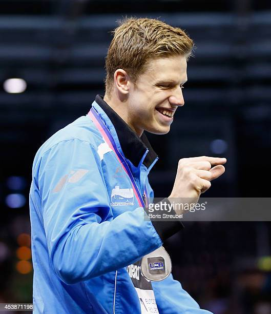Philip Heintz of Germany gestures after winning the silver medal in the men's 200m medley final during day 8 of the 32nd LEN European Swimming...
