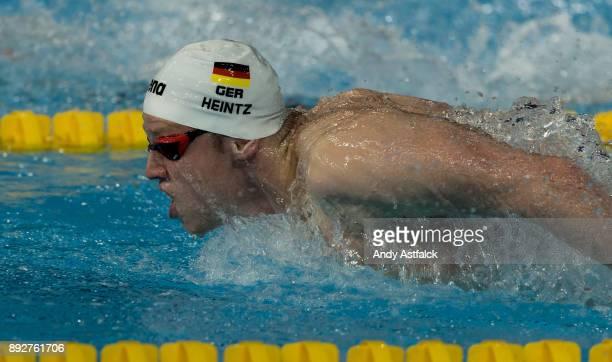 Philip Heintz of Germany swimming in the Final of the Men's 400m Medley on December 14 2017 in Copenhagen Denmark