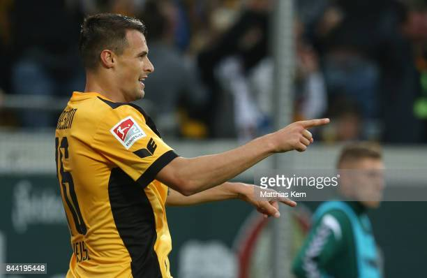 Philip Heise of Dresden jubilates after scoring the first goal during the Second Bundesliga match between SG Dynamo Dresden and SpVgg Greuther Fuerth...