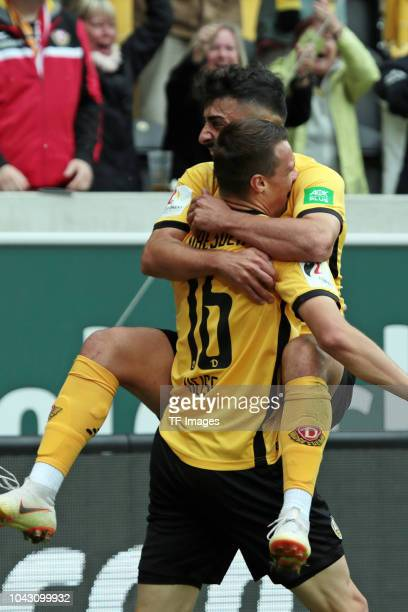 Philip Heise of Dynamo Dresden and Aias Aosman of Dynamo Dresden celebrate a goal during the Second Bundesliga match between SG Dynamo Dresden and SV...