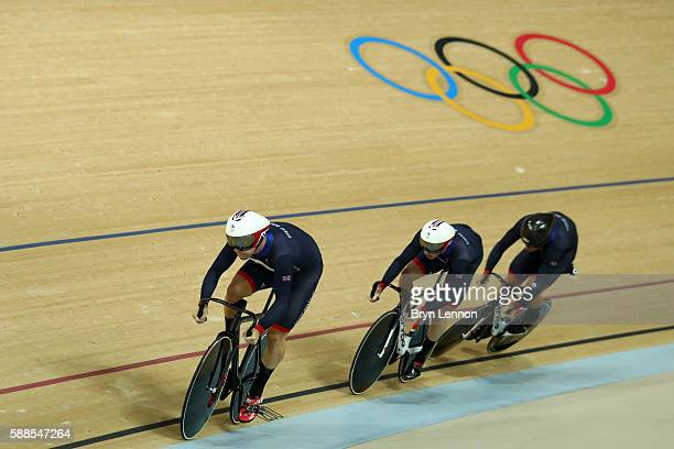 Philip Hindes Jason Kenny and Callum Skinner of Great Britain compete in the Men's Team Sprint Track Cycling Qualifying on Day 6 of the 2016 Rio...