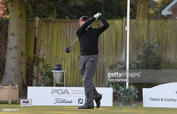 Philip Hoye of Stonebridge Golf Club plays his first shot on the 1st tee during the PGA Professional Championship Midland Qualifier at Little Aston...