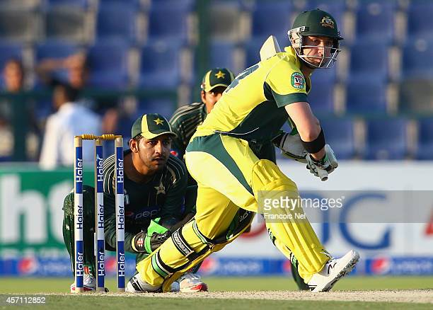 Philip Hughes of Australia bats during the third match of the one day international series between Australia and Pakistan at Sheikh Zayed Stadium on...