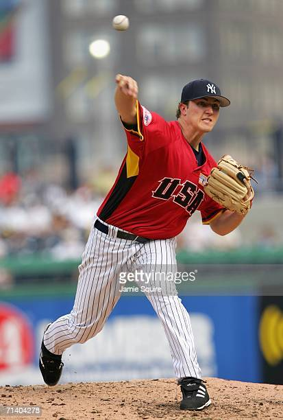 Philip Hughes of the U.S.A. Team pitches against the World Team during the XM Satellite Radio All-Star Futures Game at PNC Park on July 9, 2006 in...