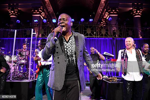 Philip J Bailey of Earth Wind Fire performs onstage during the 2016 Angel Ball hosted by Gabrielle's Angel Foundation For Cancer Research on November...