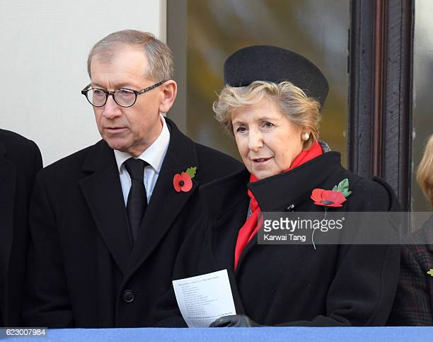 Philip John May and Norma Major attend the annual Remembrance Sunday Service at the Cenotaph on Whitehall on November 13 2016 in London England The...