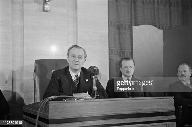 Philip Kerr, 11th Marquess of Lothian , British Ambassador to the United States, speaks at a press conference, attended by Minister of Information...