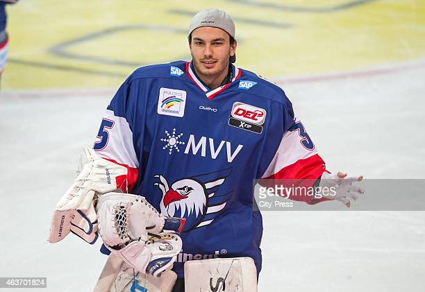 Philip Lehr of the Adler Mannheim celebrates the home victory during the game between Adler Mannheim and Eisbaeren Berlin on February 17 2015 in...