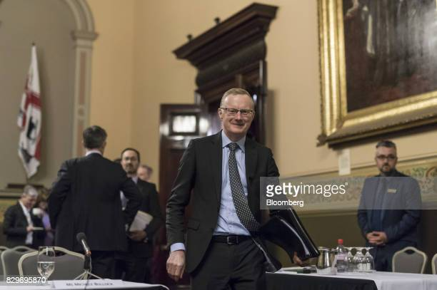 Philip Lowe governor of the Reserve Bank of Australia arrives for a hearing before the House of Representatives economics committee in Melbourne...