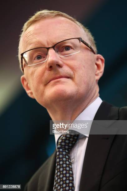 Philip Lowe governor of the Reserve Bank of Australia pauses while delivering a speech at the Australian Payment Summit in Sydney Australia on...