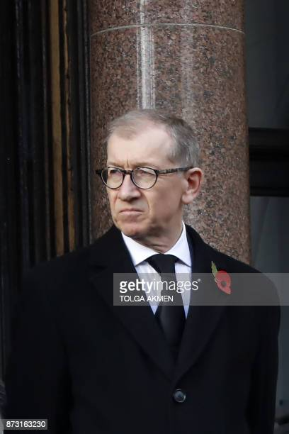 Philip May husband of Britain's Prime Minister Theresa May attends the Remembrance Sunday ceremony at the Cenotaph on Whitehall in central London on...