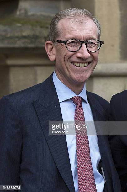 Philip May husband of Theresa May UK home secretary stands in front of the Houses of Parliament ahead of a news conference in London UK on Monday...