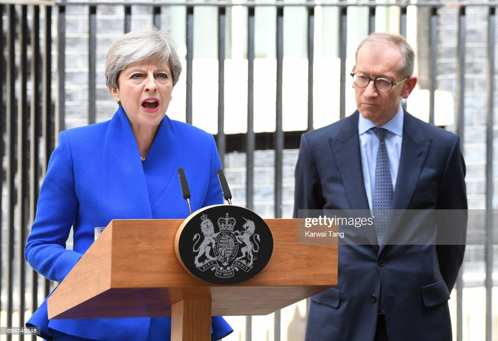 Philip May looks on as British Prime Minister Theresa May speaks after returning from Buckingham Palace outside 10 Downing Street on June 9, 2017 in London, England. After a snap election was called by Prime Minister Theresa May, the United Kingdom went to the polls yesterday. The closely fought election has failed to return a clear overall majority winner and a hung parliament has been declared.