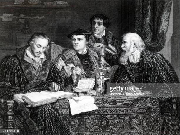 Philip Melanchthon Martin Luther Pomeranus and Gaspard Cruciger Reformation theologians working on Luther's translation of the Latin Bible The Luther...