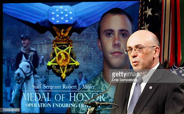 Philip Miller the father of Medal of Honor recipient US Army Staff Sgt Robert Miller delivers remarks during a ceremony to posthumously induct Sgt...