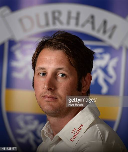 Philip Mustard of Durham poses for a portrait during the Durham CCC Photocall at The Riverside on March 28 2014 in ChesterLeStreet England